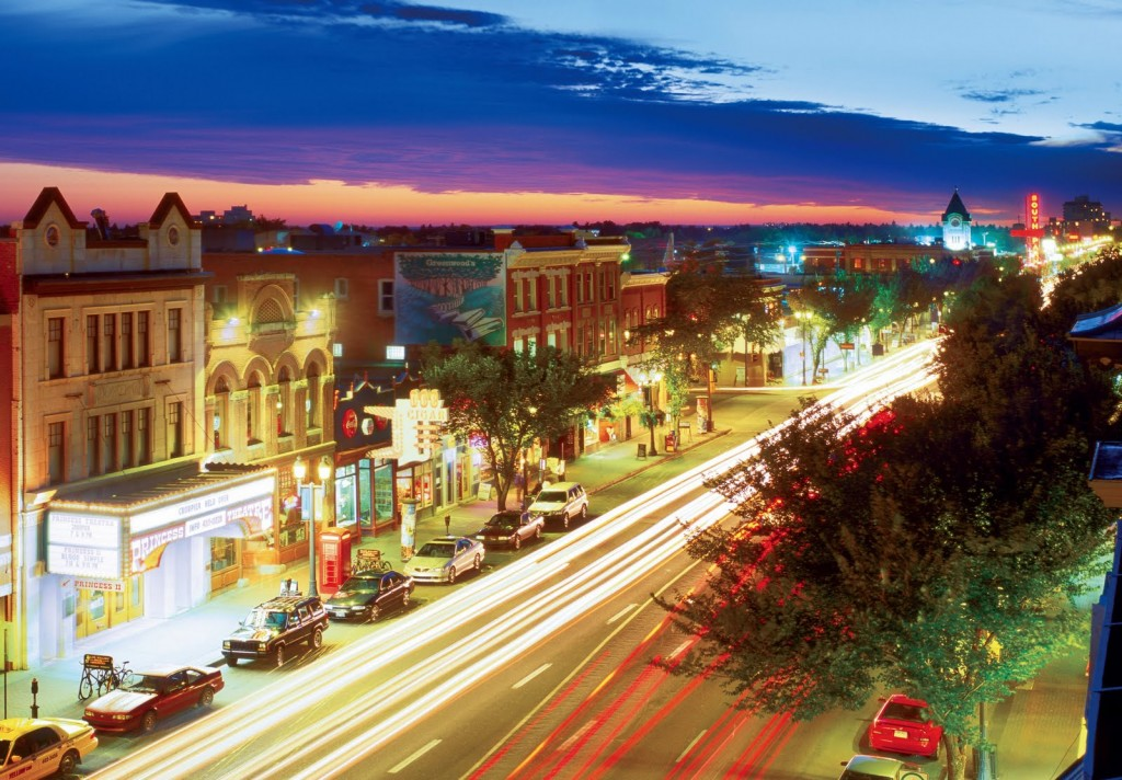Whyte Avenue at Night. Image Credit Travel Alberta